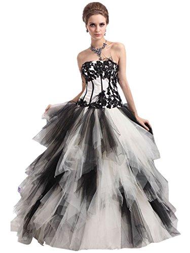Lemandy robe de soirée princesse tulle gradins appliques sans bretelles comme la photo