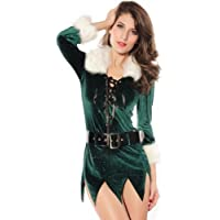 Sexy Soft Green Santa Dress MS Claus Christmas Gown Costume Lingerie Furry