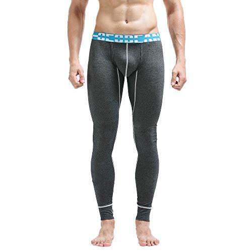 Geili Herren Unterhose Einfarbige Slim Fit Lang Leggings Kompression Strumpfhose Unterwäsche Männer Atmungsaktive Baumwolle Yogahosen Stretch Gym Fitness Sporthose Trainingshose
