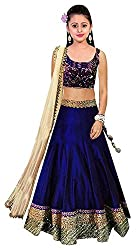 Fashion Duds Blue Georgette Embroided Semi Stitched Lehenga Choli For Girl Party Wear Gown (Free Size_7 year, 8 year, 9 Year, 10 Year, 11 Year, 12 Year age_Beauty Blue)