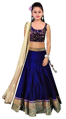 Dream Note Girls Blue Colour Banglory Silk Un-Stitched Lehenga Choli,Gown,Salwar Suits,Dresses [Free...