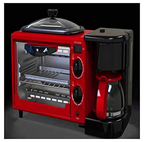 QPSGB Backofen-Toaster Frühstücksautomat mit Multifunktionsfunktion Startseite Drei-in-1-Kaffeemaschine Toaster Mini-Elektroherd Omelett (einschließlich 2 Öfen) - Backöfen (Farbe : Rot) (Ofen Kaffeemaschine Mit Toaster)