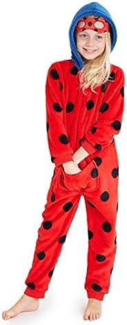 Disney Miraculous Ladybug Pigiama Bambina Intero, Pigiamone in Pile con Cappuccio E Mascherina per Dormire 2-1