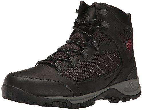 Columbia Cascade Pass Waterproof, Chaussures de Randonnée Hautes Homme Noir (Black, Mountain Red)