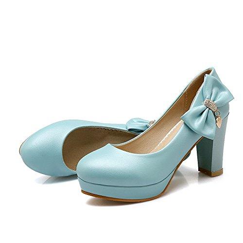 AllhqFashion Femme Couleur Unie Pu Cuir à Talon Haut Rond Tire Chaussures Légeres Bleu