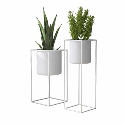 Blumenständer Topf Rack Pflanzer Halter Wohnzimmer Metall bodenständer Einfache Moderne Balkon Dekoration Kräuter Bonsai Regal (weiß) (größe : L)