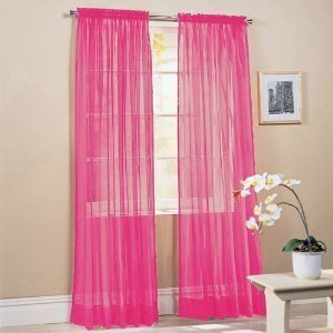 MONAGIFTS HOT PINK COLOR Voile Window Panel Solid sheer valance curtains 95 long by MONAGIFTS -