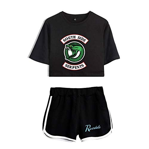 LMSA Riverdale Schlafanzug 3D-Druck Serpentine T-Shirt,Shorts, Freizeitkleidung Für Damen, Alltagskleidung,Sportbekleidung Für Damen Und Mädchen,Beste Wahl,B,2XS