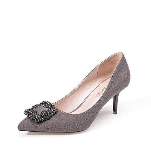 ALUK- Printemps et été - Chaussures à talons hauts avec des chaussures à talons hauts avec des chaussures fines ( couleur : Gray , taille : 36 ) Gray