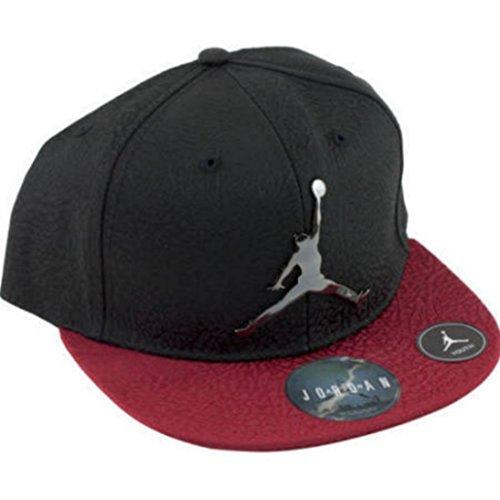 NIKE Air Jordan Retro Elite Elephant Print Court Cap Black Red Snapback Hat Youth 8-20 Jordan Black Hat