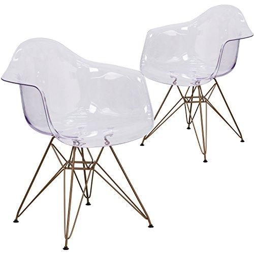 Flash Möbel Allure Serie Transparent Seite Stuhl mit Gold Rahmen, Plastik, weiß, 2er-Pack