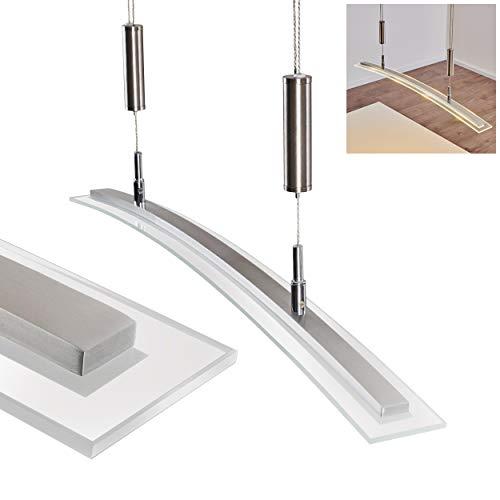 LED-Hängeleuchte Durbuy - Längliche Hängelampe 1-flammig für Esszimmer, Wohnzimmer – 3000 Kelvin – 1440 Lumen – Pendellampe höhenverstellbar – LED Pendelleuchte Esstisch – Hängelampe LED Glas Schirm