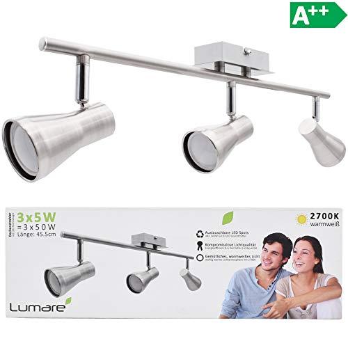 Lumare LED Deckenleuchte schwenkbar Inkl. 3 x 5W Leuchtmittel GU10 LED Deckenlampe LED Deckenstrahler LED Leuchte LED Deckenspot - 5w Led-schreibtisch-lampe