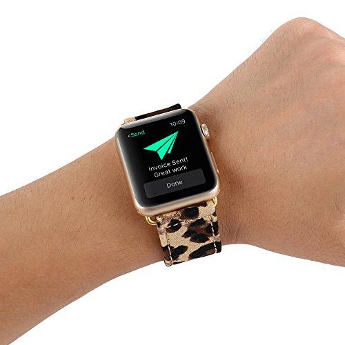 Anwendbar für Apple Watch Armband 38mm42mm, Camouflage Leoparden Lederband für Männer und Frauen kompatibel iWatch Serie 4/3/2/1,A,38mm -