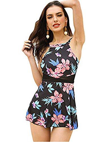 49c5e01cd07518 FeelinGirl Damen Neckholder Push Up Badekleid Figurformender Badeanzug mit  Röckchen Bauchweg Einteiliger Badekleid 4XL Blumen