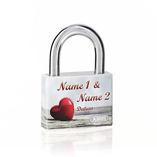 *Liebesschloss zur Hochzeit oder Valentinstag + Gratis Druck der Namen – Rotes Herz*