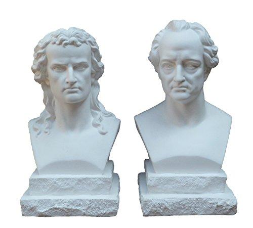 Gipsmanufaktur Goethe und Schiller, Büsten, 2er Set, Höhe je 20 cm, weißer Alabastergips