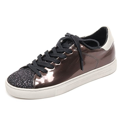 B6574 sneaker bassa donna CRIME LONDON scarpa marrone/nero glitter shoe woman Marrone/Nero