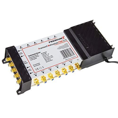 PremiumX Multischalter PXMS 5/12 Multiswitch Matrix 5-12 mit Netzteil Sat Digital Switch für 12 Teilnehmer HDTV 3D 4K -