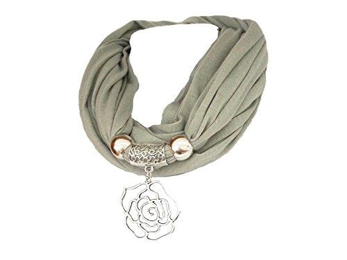 """La Loria bufanda de las mujeres """"Rose"""" pañuelo de moda con el colgante de la bufanda - Gris"""