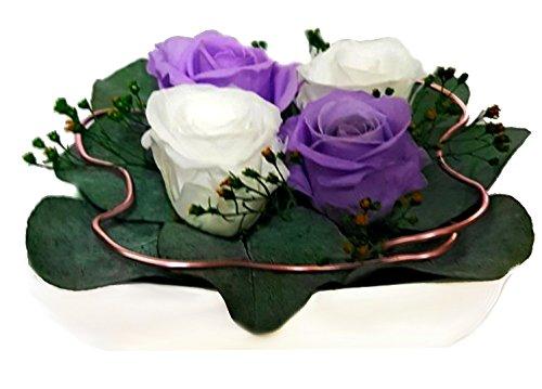 Rosen-te-amo Partner Liebesgeschenk aus ECHTE Konservierte-Rosen - Blumen-Strauß in der Vase, aus 4 haltbare-Rosen – unser EXKLUSIVES Blumen-Arrangement perfekt als Geschenk für den Muttertag