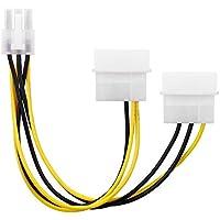 conecto CC20020 2-Mal 4-polig IDE Molex auf 1-Mal 6-polig PCI-E Strom-Adapter-Kabel für Grafikkarte 15 cm