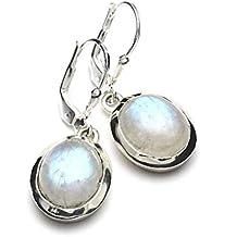 Mystic Silver - Preciosos Pendientes - Piedra natural de Piedra de luna Alta Calidad, Plata de ley 925. 31mm 6g