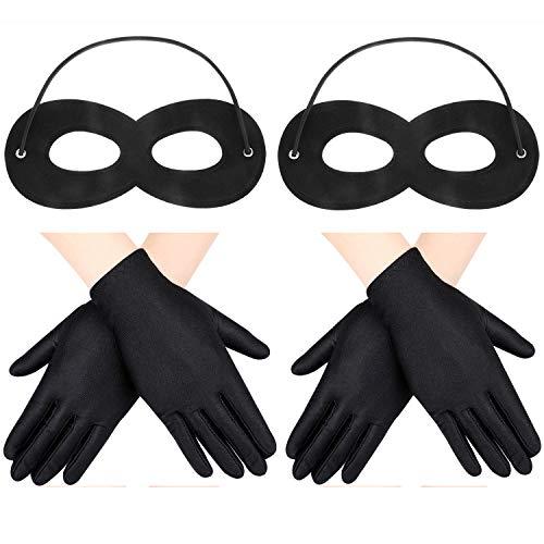 2 Stücke Filz Augenmasken mit Elastischem Seil und 2 Paar Kostüm Handschuhen für Kinder Halloween Cosplay Party (Schwarz) (2 Stück Spandex Kostüm)