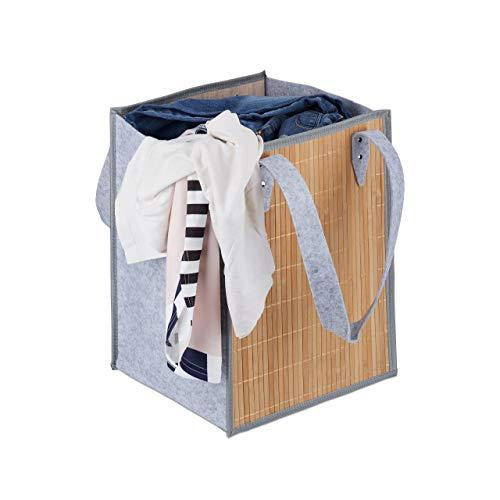 Relaxdays Wäschetasche tragbar, 50 L Aufbewahrung, große Henkel, aus Bambus und Filz, faltbarer Wäschekorb, natur-grau - Tragbare Wäsche