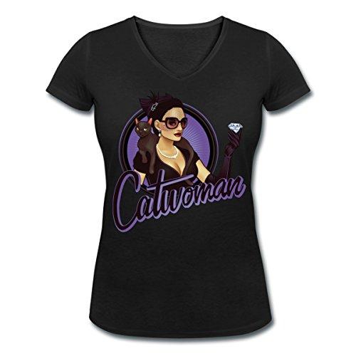 DC Comics Bombshells Catwoman Frauen T-Shirt mit V-Ausschnitt von Spreadshirt®, M, (40er Up Pin Girl Jahre)