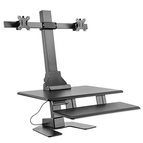 Maclean MC-796 2-Fach Monitorhalterung Arbeitstation Monitor Halter mit Maus Tastatur-Ablage VESA: 75x75,100x100 13