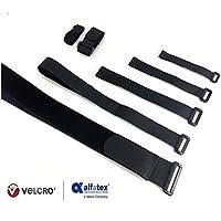 2er-Pack Heavy-Duty-Metallschnalle Klettverschluss Kabelbinder wiederverwendbare Gurte schwarz