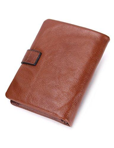 Contacts Mens Genuine Leather Cowhide Card Coin Purse Bifold Wallet Dark Brown Braun