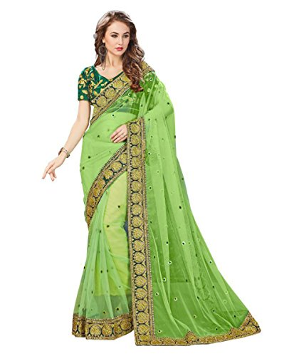 Bigben Textile Net Saree With Blouse Piece (Green_Free Size)