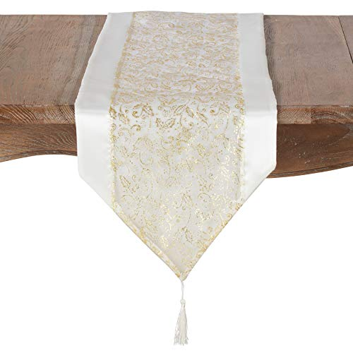 SARO LIFESTYLE 9276. I1471X Feuille dâ'¬or Collection Organza Gold Leaf Design Table Runner 14