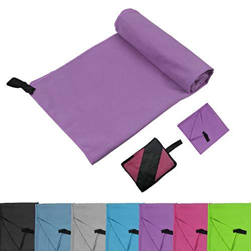 Glamexx24 Mikrofaser Handtücher Set mit Tasche Reisehandtuch perfekte Sporthandtuch XXL Strandhandtuch Sauna Yoga in Allen GRÖßEN Lila -