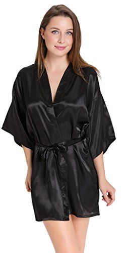 Aibrou-Womens-Kimono-Robes-Satin-Pure-Colour-Short-style-with-Oblique-V-Neck