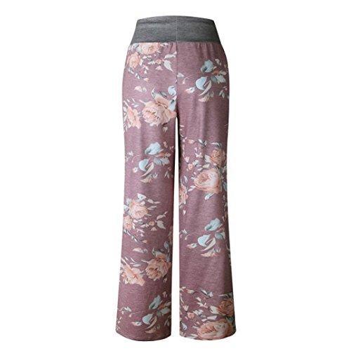 UFACE Damen Bedruckte weitbogige Spitzenhose Frauen-Sommer-Blumendruck-lose Yoga-breite Bein-Hosen(Kaffee,2XL(40))
