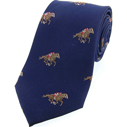 Men's Country Themed Navy Blue Horse Racing Woven Silk Tie Blue Woven Tie