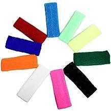 Set di 10 Fasce Sportive per Capelli Elastiche Colorate di Kurtzy TM