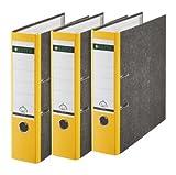 Leitz Qualitäts-Ordner, Wolkenmarmor-Papier, A4, 8 cm Rückenbreite, Gelb, 3er-Pack, 310305015
