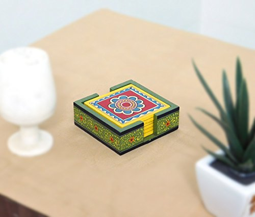 Chave India Handmade Wooden Kitchen / Dinning Ware Coaster with Hand-painted Madhubani / Mithila Painting of Bihar - Set of 6