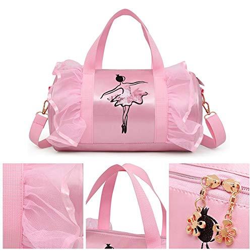 Kinder Tanz Tasche, Ballett-Tasche Pink Umhängetasche, Sport-tasche, Mädchen Latin Dance Bag für Tanzende Kostüm Schuhe Rosa, (Tanzen Tragen Tanz Kostüm)