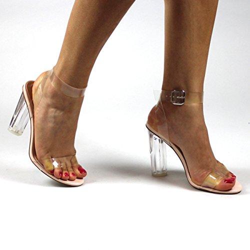 Donna Cinturino Alla Caviglia Plexiglas Quasi Lì Tacco Punta Aperta Tacchi Alti Nude