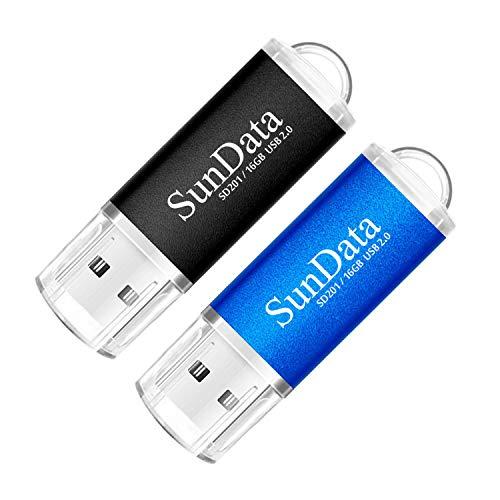SunData USB Stick 2 Stück 16GB USB-Sticks USB 2.0 Speicherstick Flash Laufwerk