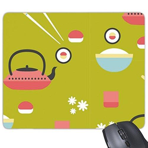 chen Stil, niedliche grün blau rot weiß Reis Teekanne Tasse Sushi Stäbchen Sakura Illustration Muster Rechteck rutschfeste Gummi Mauspad Spiel Maus Pad ()