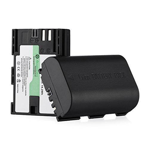 Powerextra Lot de 2 Batteries Canon LP-E6 2600mAH pour Canon EOS 80D 6D 7D 70D 60D 5D Mark III 5D Mark II BG-E14 BG-E11 BG-E9 BG-E7 LC-E6 BG-E6