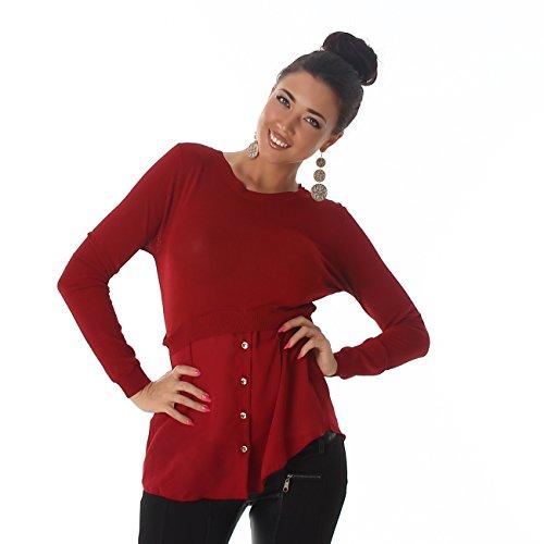 Voyelles Damen Shirt Bluse Blusenshirt Pullover Rundhals Boleroshirt Langarm Pulli Knöpfe Rot