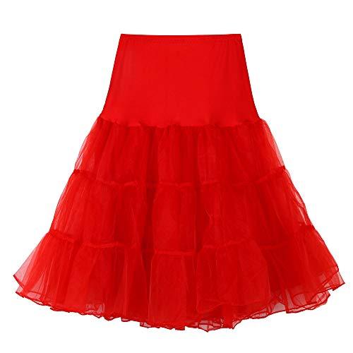 Andouy Damen Tutu Rock Tüll Organza A-Linie Petticoat Balletttanz Layred Kostüm Dress-up Größe ()