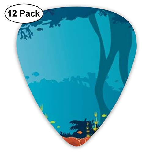 Cavdwa Yellow Turtle, Colorful Coral Reef, Fishes and Underwater Cave On A Blue Sea Personalized 12-teiliges Gitarrenplektrum, 0.96 mm, 0.71 mm, 0.46 mm Fashion for Guitar/Bass/Your Electric -